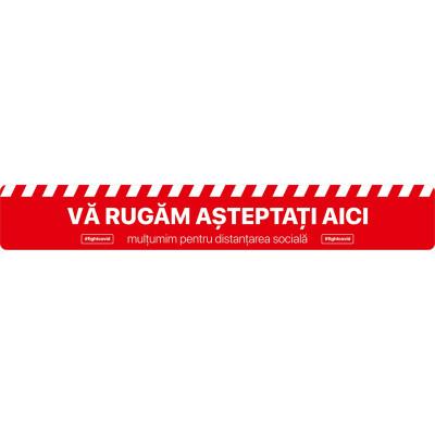 Autocolant Linie Asteptati Aici Distantare Sociala 100 x 15 cm