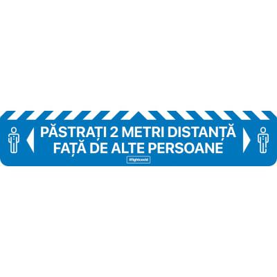 Autocolant Linie Pastrati 2 metri Distanta Alte Persoane 50 x 10 cm